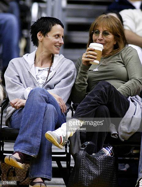 Actress Lori Petty and actressdirector Penny Marshall attend the game between the Los Angeles Lakers and the Washington Wizards on November 26 2003...