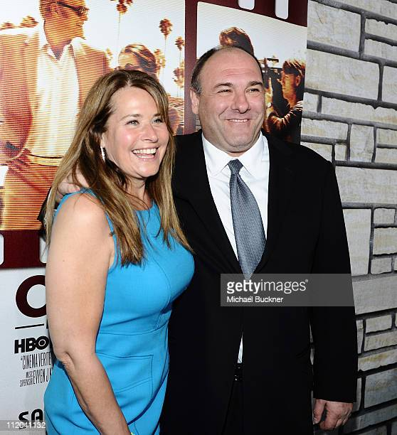 Actress Lorraine Bracco and actor James Gandolfini arrive at the premiere of HBO Films' Cinema Verite at the Paramount Theatre on April 11 2011 in...