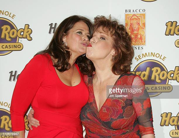 Actress Lorraine Bracco and Host Joy Behar arrive at the Bracco Wines Launch at the Hard Rock Cafe on February 25 2008 in New York City