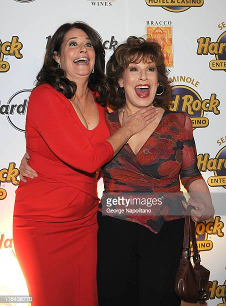 Actress Lorraine Bracco and Joy Behar during the launch of Bracco Wines at the Hard Rock Cafe on February 25 2008 in New York City