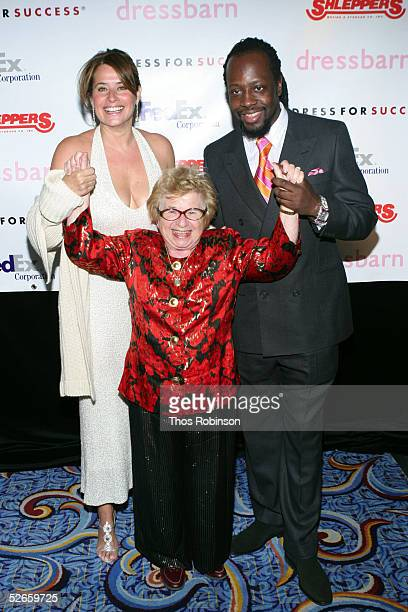 Actress Lorraine Bracco Dr Ruth Westheimer and singer Wyclef Jean attend the Dress For Success April In Paris annual gala at Marriott Marquis on...