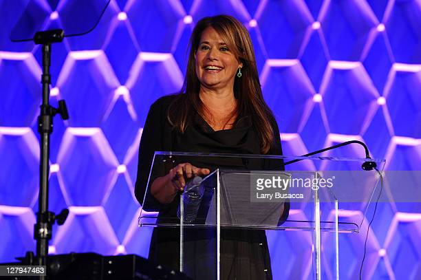 Actress Lorraine Bracco speaks onstage during the 2011 WICT Leadership Conference and Touchstones Luncheon at New York Hilton and Towers on October 3...
