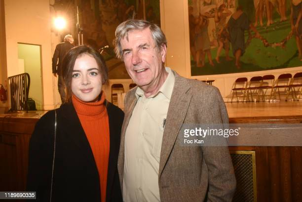 Actress Lou Gala and actor Bernard Menez attend the Poesie En Liberté 2019 Awards Ceremony At Mairie Du 5eme on November 23 2019 in Paris France
