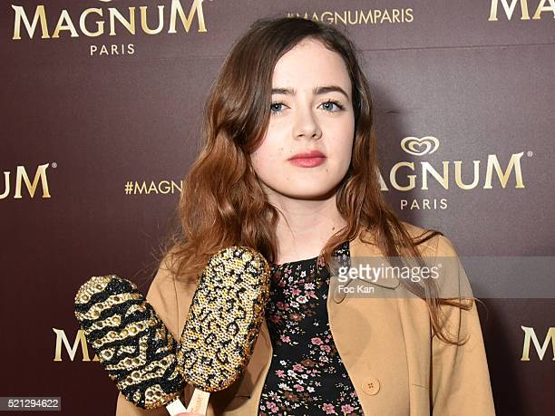 Actress Lou Gala attends Magnum Paris Concept Store Rue des Rosiers Opening Party on April 14 2015 in Paris France