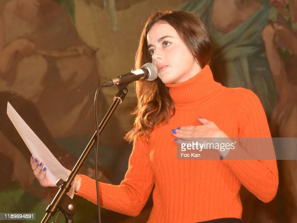 Actress Lou Gala reads a poem during the Poesie En Liberté 2019 Awards Ceremony At Mairie Du 5eme on November 23 2019 in Paris France
