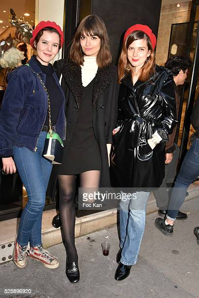 Actress Lou Lesage singers Clara Luciani and Leonie Popo attend the 'As Hard' Pierre Emery Paintings /Collages Exhibition at Galerie Taglialatella...