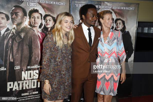 Actress Louane Emera Actor Marc Zinga and Actress Alexandra Lamy attend Nos Patriotes Paris Premiere at UGC Cine Cite des Halles on June 6 2017 in...