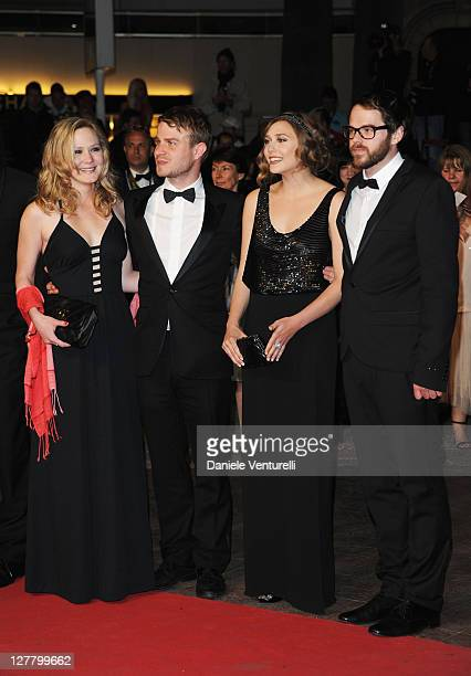 Actress Louisa Krause actor Brady Corbet actress Elizabeth Olsen and director Sean Durkin attend the 'Martha Marcy May Marlene' Premiere at the...
