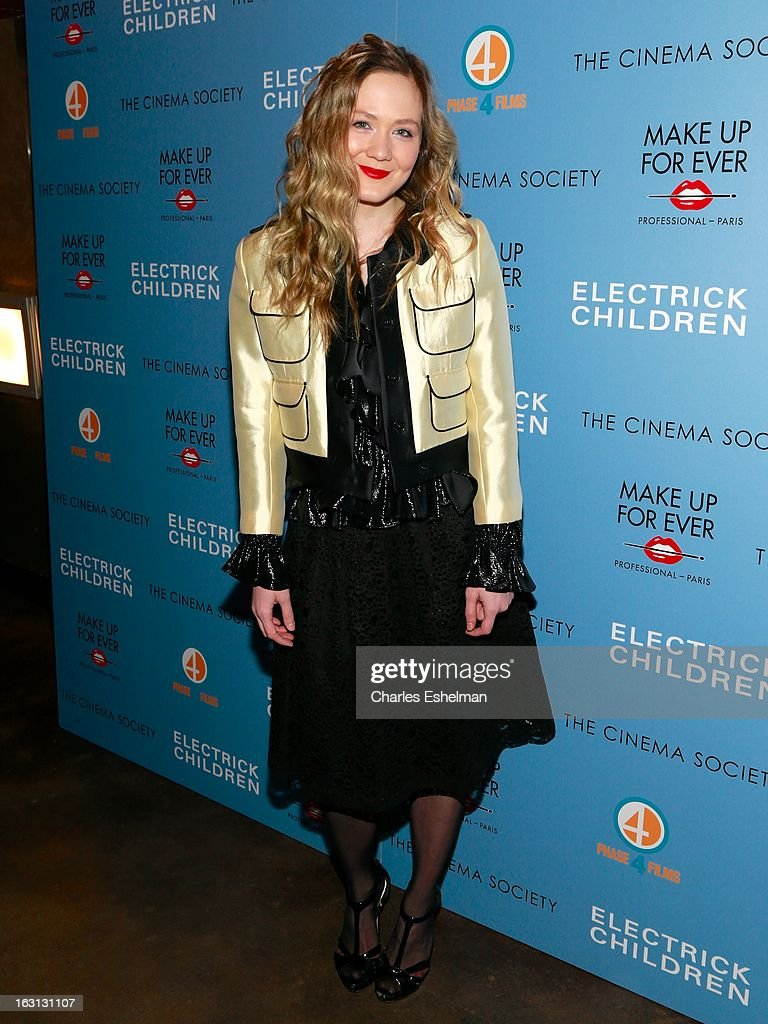 Actress Louisa Krause attends The Cinema Society & Make Up For Ever host a screening of 'Electrick Children' at IFC Center on March 4, 2013 in New York City.