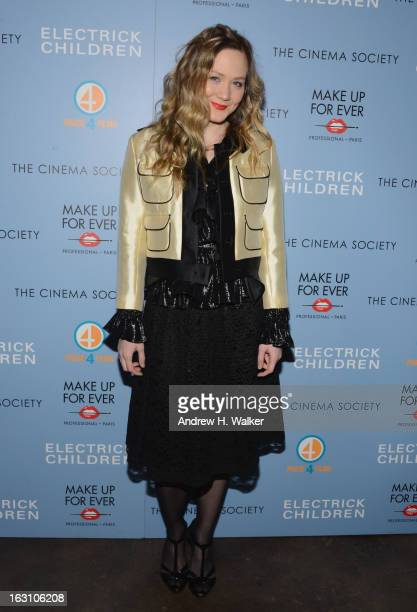Actress Louisa Krause attends The Cinema Society Make Up For Ever screening of 'Electrick Children' at IFC Center on March 4 2013 in New York City