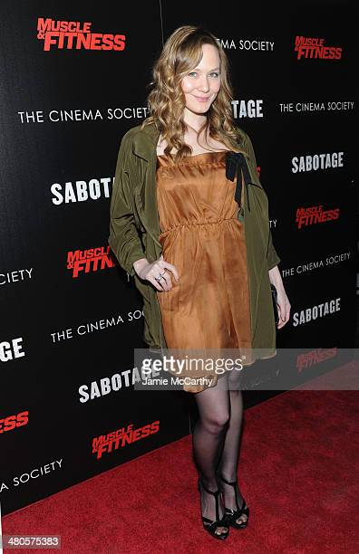 Actress Louisa Krause attends The Cinema Society with Muscle Fitness screening of Open Road Films' Sabotage at AMC Loews Lincoln Square on March 25...