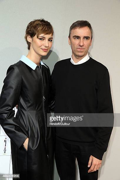 Actress Louise Bourgoin and Designer Raf Simons pose after the Christian Dior show as part of the Paris Fashion Week Womenswear Fall/Winter 2015/2016...