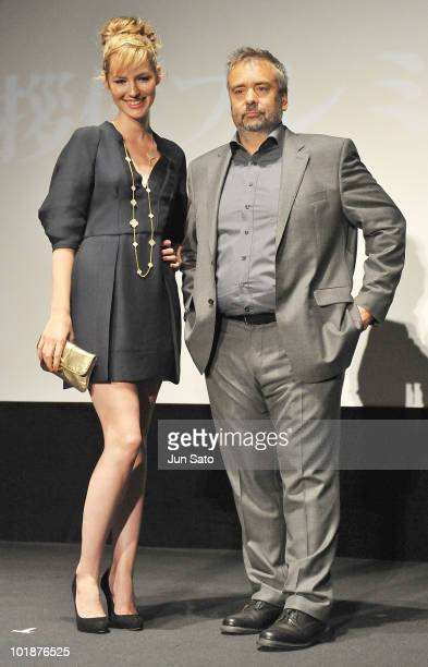 Actress Louise Bourgoin and director Luc Besson attend the 'The Extraordinary Adventures of Adele BlancSec' Stage Greeting at United Cinemas Toyosu...