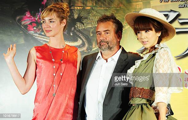 Actress Louise Bourgoin director Luc Besson and actress Aki Hoshino attend the 'The Extraordinary Adventures of Adele BlancSec' press conference at...