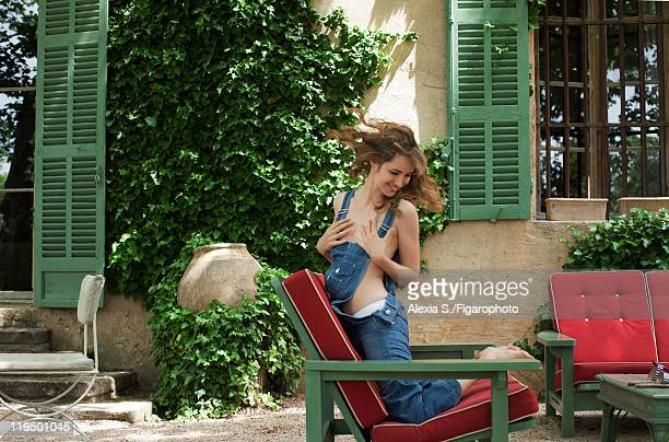 Actress Louise Bourgoin poses at a fashion shoot for Madame Figaro on May 31 2011 in Gemenos France Published image Figaro ID 100850002 Overalls by...