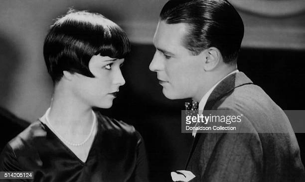 Actress Louise Brooks and an actor in a scene from the movie Now We're In The Air which was released in 1927
