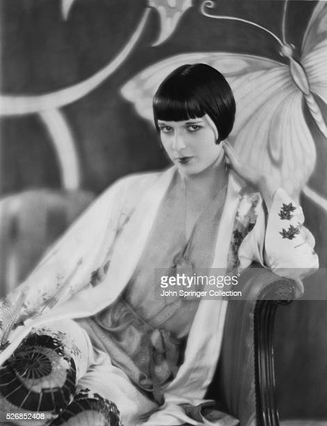 Actress Louise Brooks wears loungewear