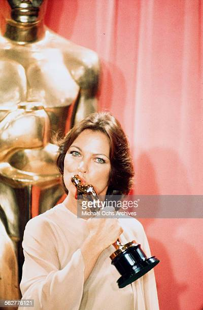 Actress Louise Fletcher poses backstage after winning the Best Actress award for One Flew Over the Cuckoo's Nest during the 48th Academy Awards at...