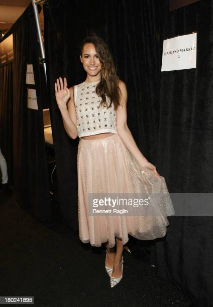 Actress Louise Roe attends the Jenny Packham show during Spring 2014 MercedesBenz Fashion Week at The Studio at Lincoln Center on September 10 2013...