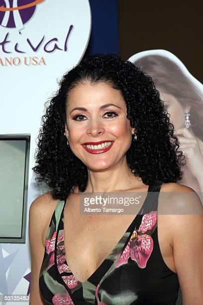 Actress Lourdes Munguia poses at Encuentro Emociones At The Mandarin Oriental Hotel on June 22 2005 in Miami Florida