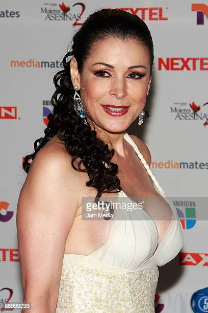 Actress Lourdes Munguia poses for a photo during the premiere of the television series 'Mujeres Asesinas' second season at the facilities of San...