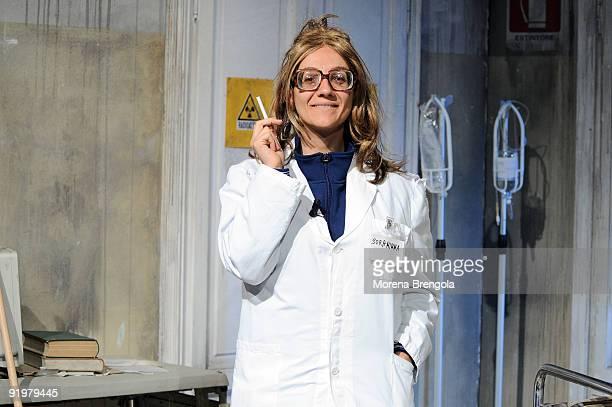 Actress Lucia Ocone appears on Italian TV show Quelli che il calcio on October 18 2009 in Milan Italy