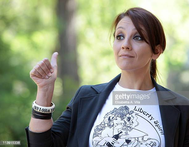 Actress Lucia Ocone attends I Liceali 3 TV series photocall at Villa Borghese on May 10 2011 in Rome Italy