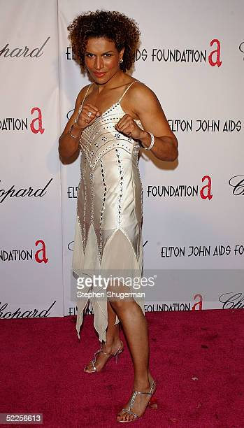 Actress Lucia Rijker arrives at the 13th Annual Elton John Aids Foundation Academy Awards Viewing Party at the Pacific Design Center on February 27...