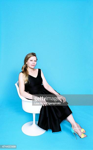 Actress Lucie Borleteau is photographed for Madame Figaro on April 20 2015 in Paris France Dress shoes Tulip chair design Eero Saarinen PUBLISHED...