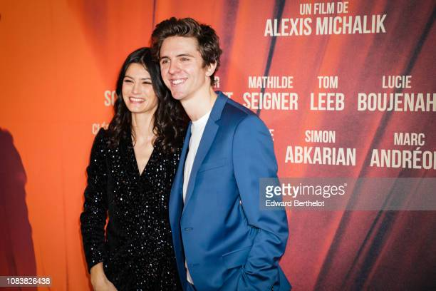 Actress Lucie Boujenah and actor Thomas Soliveres during the 'Edmond' Paris Premiere photocall at Cinema Pathe Beaugrenelle on December 17 2018 in...