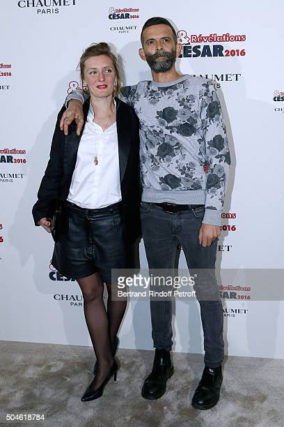Actress Lucie Debay nominated for 'Melody' and her sponsor Vincent Paronnaud attend the 'Cesar Revelations 2016' Photocall at Chaumet followed by a...