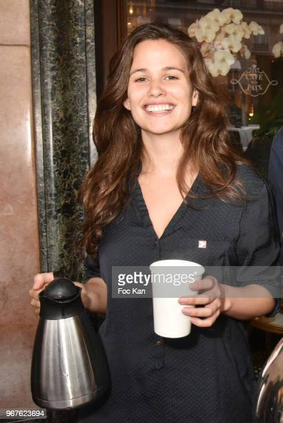 Actress Lucie Lucas attends Petits Dejeuners du Coeur Mecenat Chirurgie Cardiaque Children Care Auction Breakfeast at Cafe de La Paix on June 5 2018...
