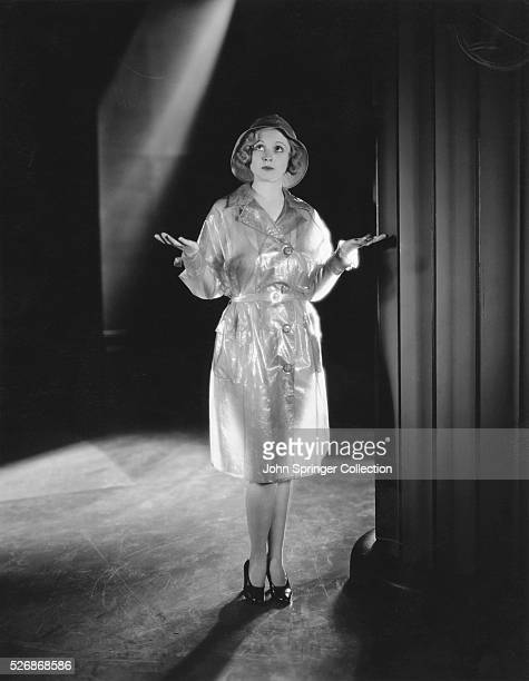 Actress Lucile Browne in Raincoat