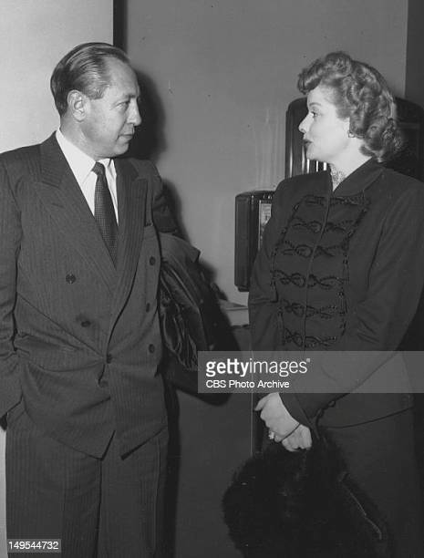 Actress Lucille Ball talks with William S Paley chairman of CBS in 1949 in New York NY