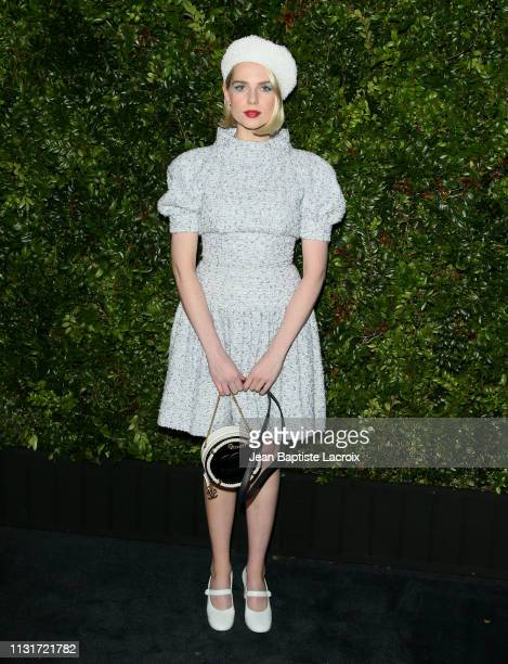 Actress Lucy Boynton attends Charles Finch And CHANEL's 11th Annual PreOscar Awards Dinner at Polo Lounge at The Beverly Hills Hotel on February 23...