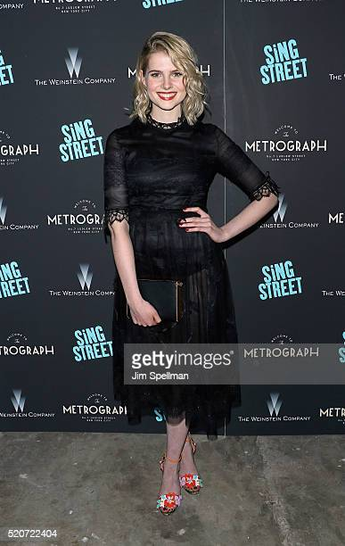 Actress Lucy Boynton attends the premiere of 'Sing Street' hosted by The Weinstein Company at Metrograph on April 12 2016 in New York City