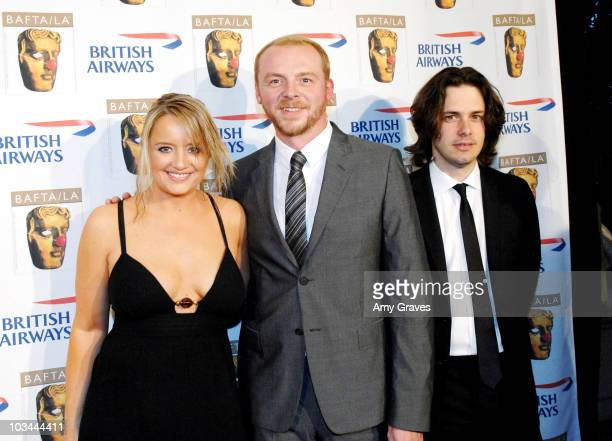 Actress Lucy Davis actor Simon Pegg and Edgar Wright attend the BAFTA/LA British Comedy Awards Presented by British Airways on May 1 2008 in Beverly...