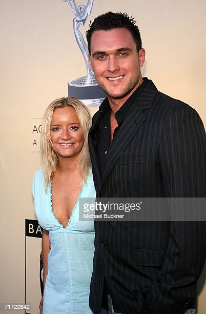 Actress Lucy Davis and actor Owain Yeoman arrive at the BAFTA/LAAcademy of Television Arts and Sciences Tea Party at the Century Hyatt on August 26...