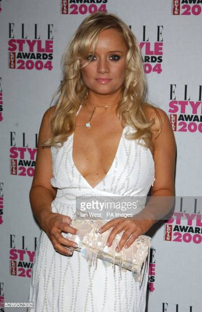 Actress Lucy Davis from the hit BBC series The Office wearing a dress by Ben Di Lisi at the Elle Style Awards 2004 at the Natural History Museum in...