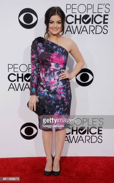 Actress Lucy Hale arrives at the 40th Annual People's Choice Awards at Nokia Theatre LA Live on January 8 2014 in Los Angeles California