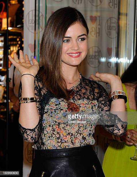 Actress Lucy Hale arrives for the grand opening of Henri Bendel at the Fashion Show mall on August 29 2012 in Las Vegas Nevada