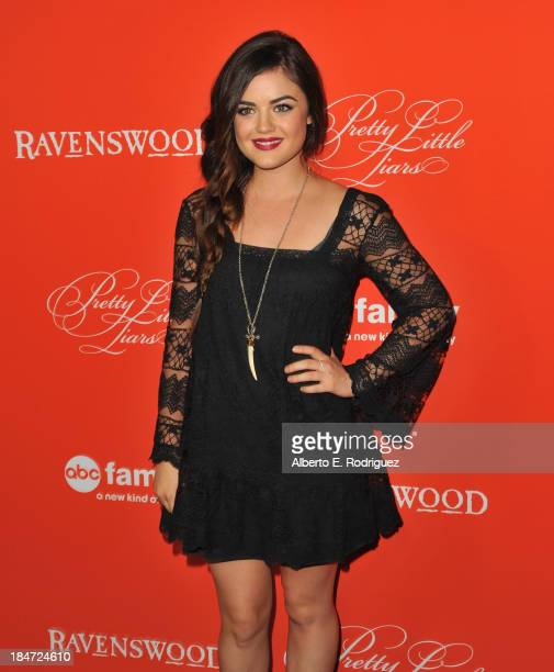 Actress Lucy Hale attends a screening of ABC Family's Pretty Little Liars Halloween episode at Hollywood Forever Cemetery on October 15 2013 in...