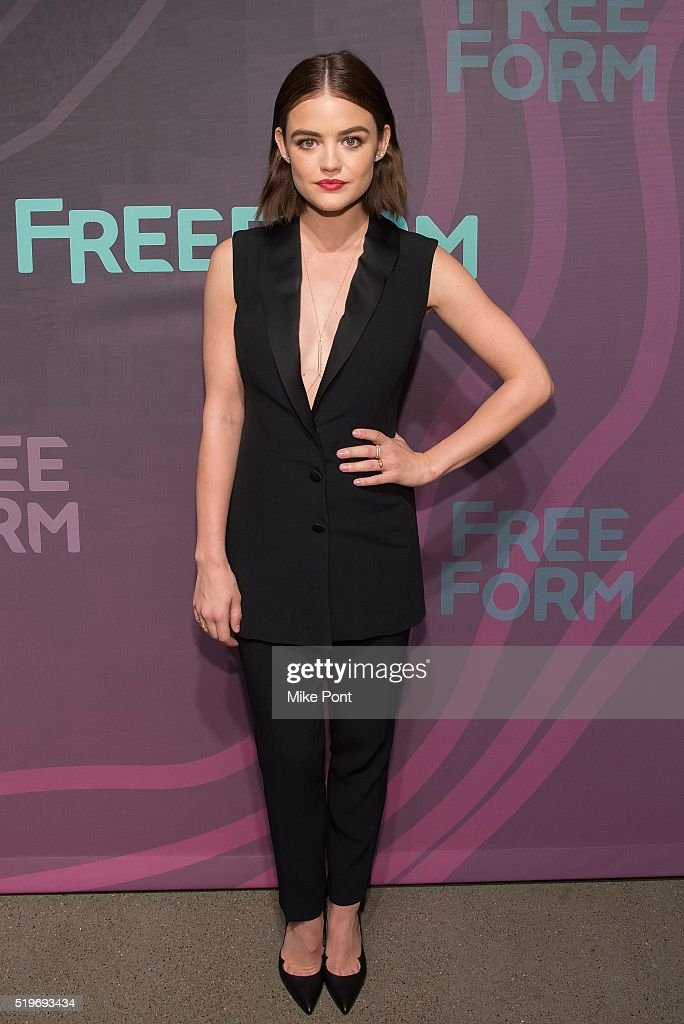 Actress Lucy Hale attends the 2016 Freeform Upfront at Spring Studios on April 7, 2016 in New York City.