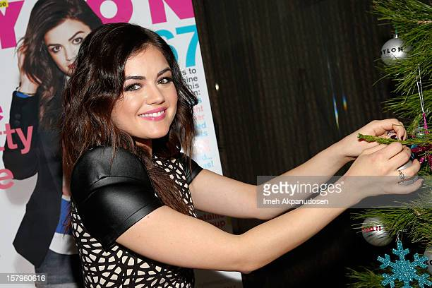 Actress Lucy Hale attends the Celebration of NYLON's December/January Cover Star Lucy Hale Presented by bebe at Andaz Hotel on December 7 2012 in Los...