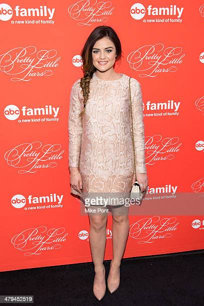 """Actress Lucy Hale attends the """"Pretty Little Liars"""" season finale screening at the Ziegfeld Theater on March 18, 2014 in New York City."""