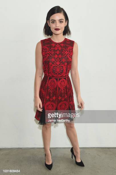 Actress Lucy Hale backstage for Naeem Khan during New York Fashion Week The Shows at Gallery I at Spring Studios on September 11 2018 in New York City