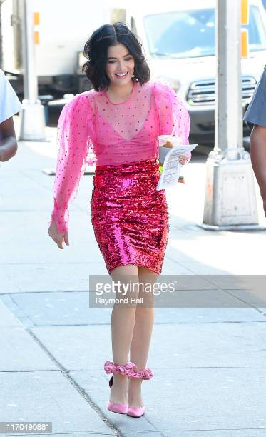 Actress Lucy Hale is seen walking in soho on September 23, 2019 in New York City.
