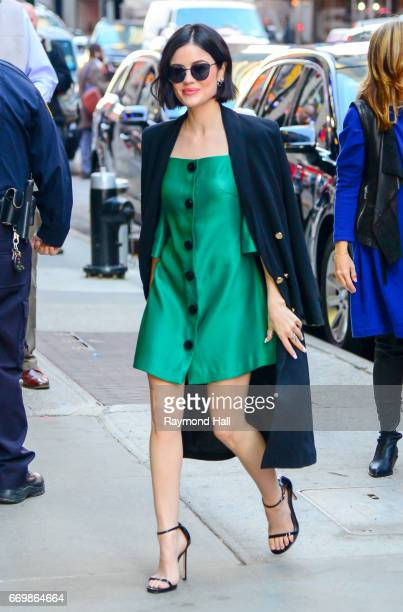 Actress Lucy Hale leaves the 'Good Morning America' taping at the ABC Times Square Studios on April 18 2017 in New York City