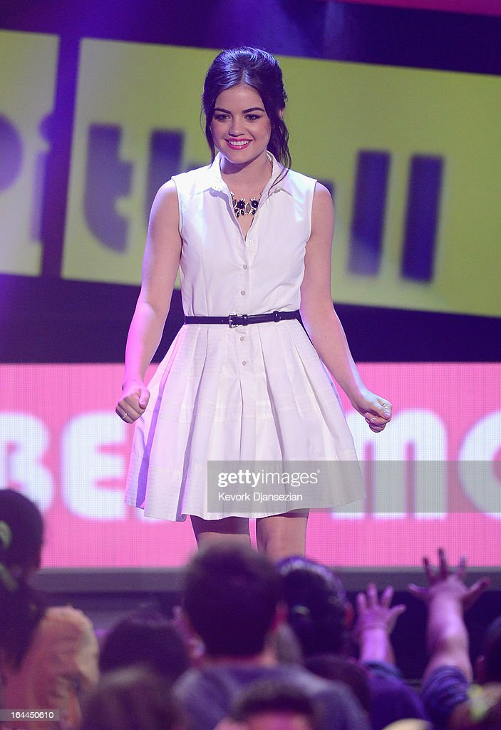 Actress Lucy Hale walks onstage during Nickelodeon's 26th Annual Kids' Choice Awards at USC Galen Center on March 23, 2013 in Los Angeles, California.