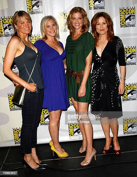 """Actress Lucy Lawless, actress Katee Sackoff, actress Tricia Helfer and actress mary McDonnell of """"Battlestar Galactica"""" attends the 2007 Comic-Con..."""
